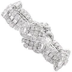 Vintage Round Baguette Diamond Platinum Wide Bracelet