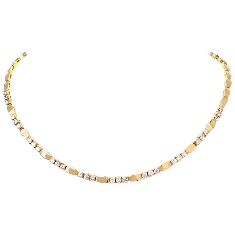 1980s Diamond Choker 18 Karat Gold Link Necklace