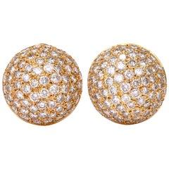 Chic Bombe Diamond Clip-On 18 Karat Gold Dome Earrings
