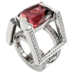 White Gold Ring with 14.54 Carat Shift Pink Tourmaline and Diamonds