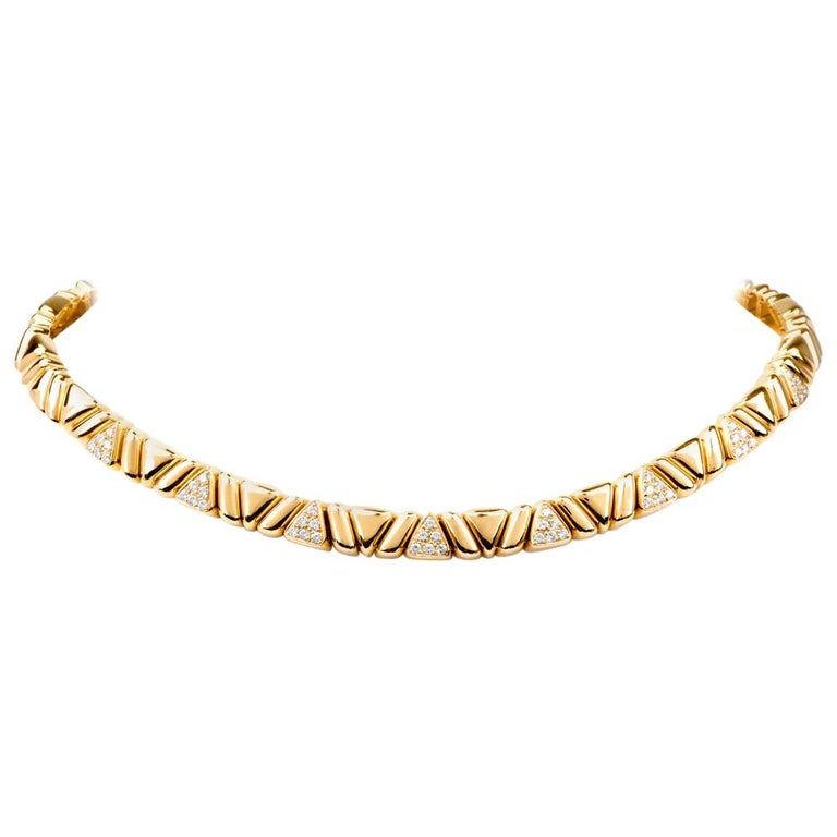 1980s Designer Diamond Gold Choker Necklace