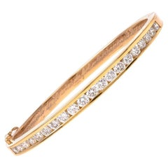 Vintage 3.75 Carat Diamond Yellow Gold Bangle Bracelet