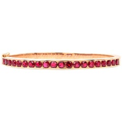 Vintage 18 Karat Gold Ruby Bangle Bracelet