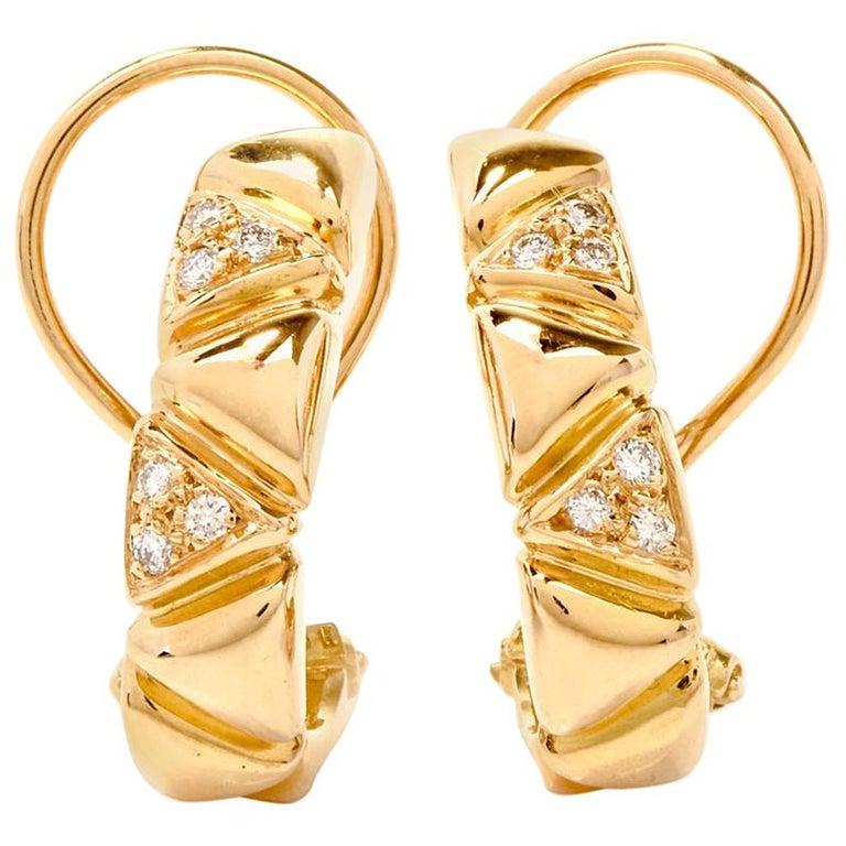 Estate Half-Hoop 18 Karat Clip-On Earrings