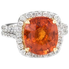 Spessartite Orange Garnet Diamond Cocktail Ring