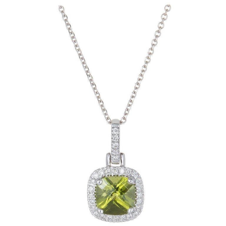 Peridot Diamond Square Pendant Necklace