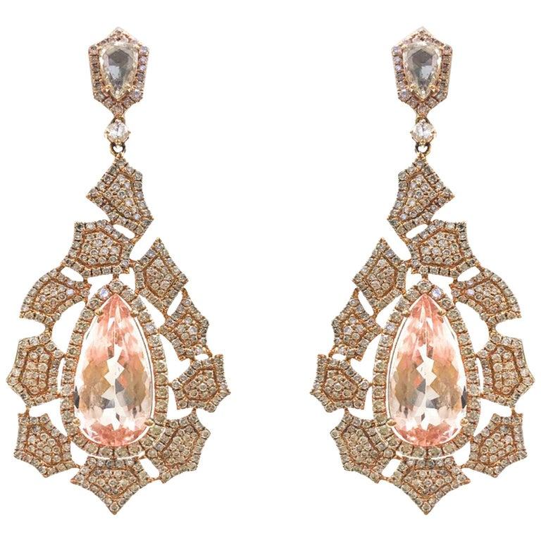 Stephanie Kantis Morganite Diamond Earrings