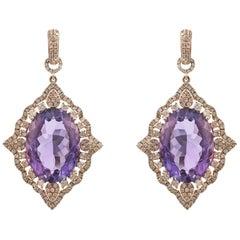 Stephanie Kantis Diamond Oval Amethyst Earrings