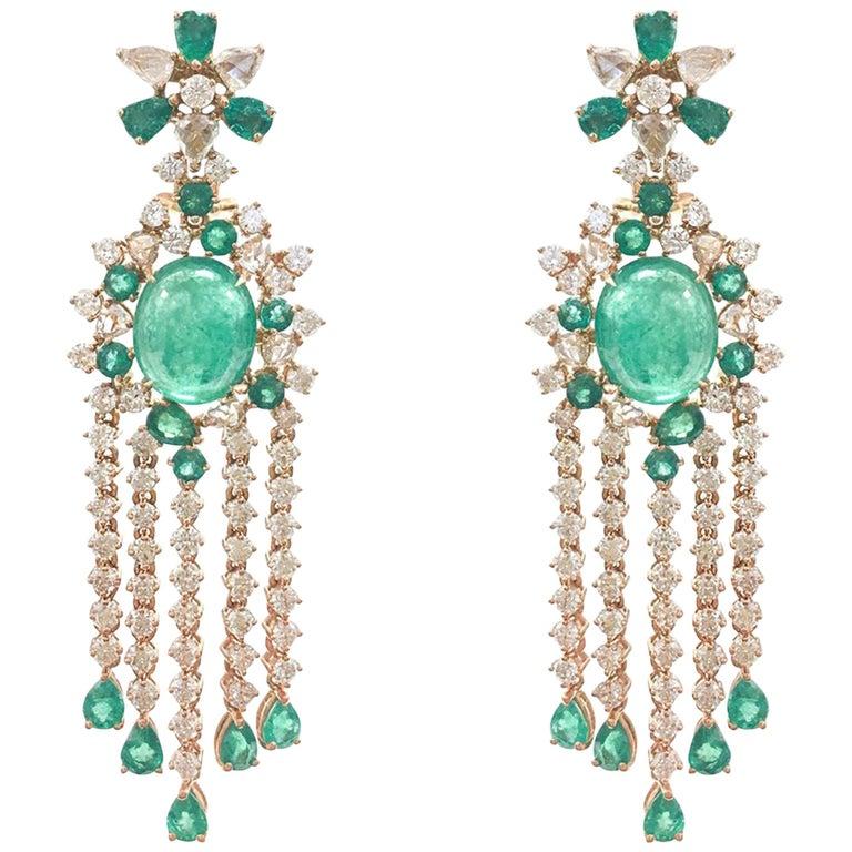 Stephanie Kantis Emerald Diamond Chandelier Earrings For Sale