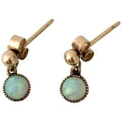 Opal Vintage Jewelry Gold Cabochon Gemstone Drop Earrings Millegrain Stud