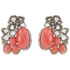 Stephanie Kantis Diamond And Pink Coral Earrings