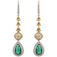Stephanie Kantis Emerald Diamond Drop Earrings