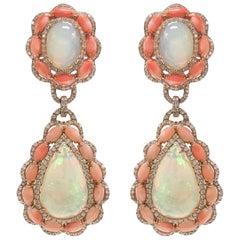 Stephanie Kantis Ethiopian Opal, Peach Agate Diamond Earrings