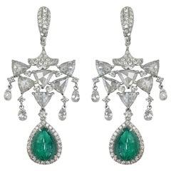 Stephanie Kantis 30.05 Carat Emerald  Diamond Earrings