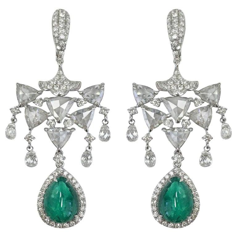 Stephanie Kantis 30.05 Carat Emerald  Diamond Earrings For Sale