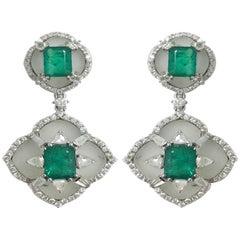 Stephanie Kantis Diamond Set With Emerald And Brazilian Raw Crystal Earrings