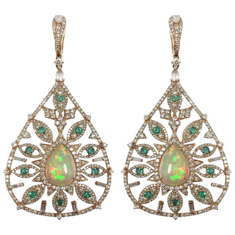 Stephanie Kantis Diamond Emerald, Ethiopian Opal Earrings