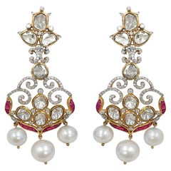 Stephanie Kantis Ruby, Fresh Water Pearl Diamond Earrings