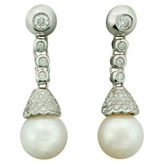 Pearl and Diamond Drop Earrings in 18 Karat