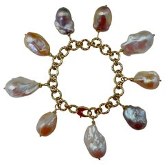 Michael Kneebone Baroque Colored Pearl 18 Karat Gold Charm Bracelet