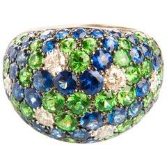 Diamond 0.62ct Sapphire 4.31ct Tsavorite 3.13ct White Gold 18 Karat Dome Ring