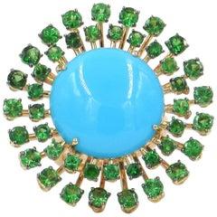 18 Karat Rose Gold Tsavorite and Turquoise Garavelli Ring