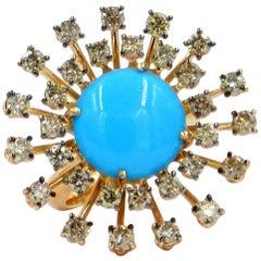 18 Karat Rose Gold Brown Diamonds and Turchese Garavelli Ring
