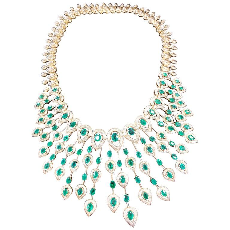 Emerald and Diamond Spray Necklace in 14 Karat Yellow Gold