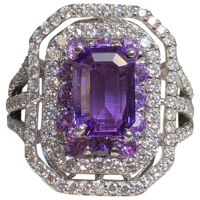Emerald Cut Purple Sapphire and Diamond Cocktail Ring in Platinum