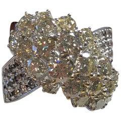 Estate Diamond Cluster Ring in 18 Karat White Gold