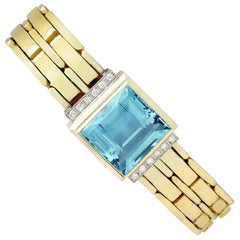 21.68 Carat Aquamarine and Diamond Yellow Gold Bracelet, Art Deco Style