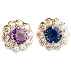 2.64ct Sapphire and 1.13ct Diamond Flower Shaped Earrings in 18K White Gold