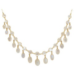 Antique 42.20 Carat Moonstone and Yellow Gold Necklace