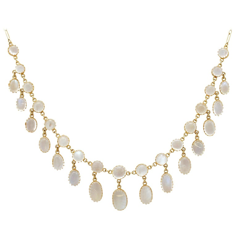 Antique 42.20 Carat Moonstone and Yellow Gold Necklace For Sale