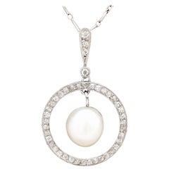 1920s Natural Pearl and Diamond Platinum Pendant
