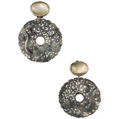 Black Carved Jade Discs '56.01 Carat' and Grey Moonstone '19.96 Carat' Earrings