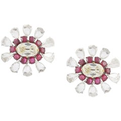V.A.K. Natural Burma Ruby Old European Cut Diamond 18K Rose Cut Clip-On Earrings