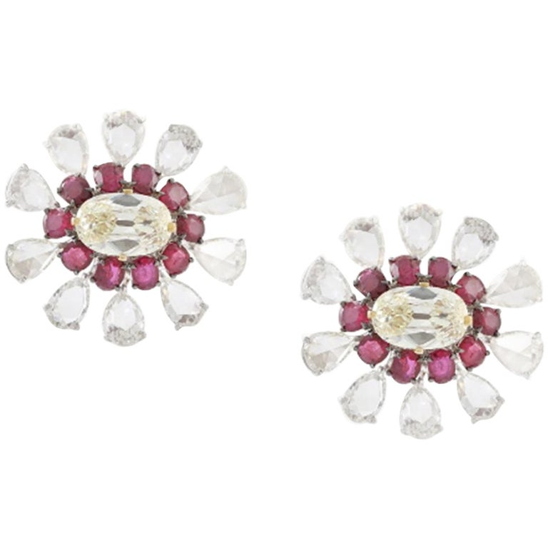V.A.K. Natural Burma Ruby Old European Cut Diamond and Rose Cut Clip-On Earrings