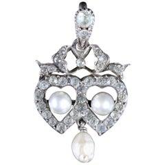 Antique Edwardian Paste Stone Pearl Pendant Silver, circa 1910