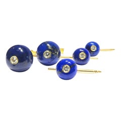 Timeless Julius Cohen Lapis Diamond 18 Karat Gold Cufflinks and Stud Set