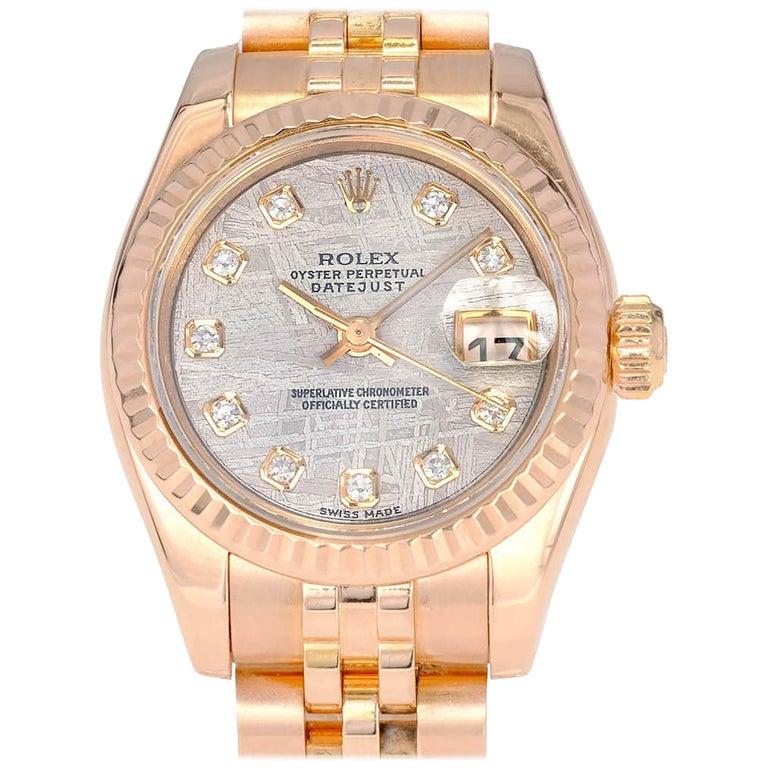 Rolex Ladies Rose Gold Datejust Wristwatch