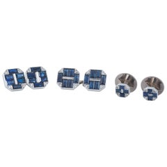 Cufflinks Cartier Sapphire and Diamond with Two Matching Studs, circa 1930