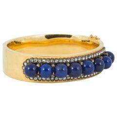 Bangle 18 Carat Gold French Lapis Lazuli and Diamond Half Hoop, circa 1910
