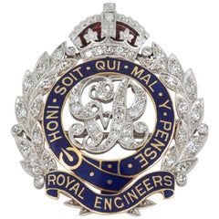 English  Platinum and 18 Carat Gold Royal Engineers Brooch