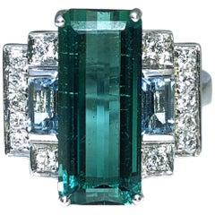5.75 Carat Baguette Cut Peacock Blue Tourmaline Aquamarine Diamond Cocktail Ring
