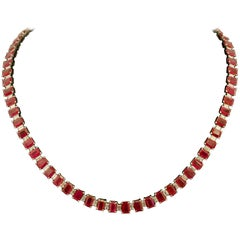 Important Ruby and Diamond Straight Line Necklace in Platinum