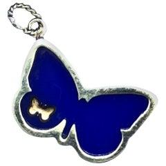 18 Karat Blue Agate Butterfly Pendant