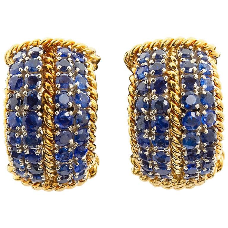 David Webb Sapphire Gold Earclips