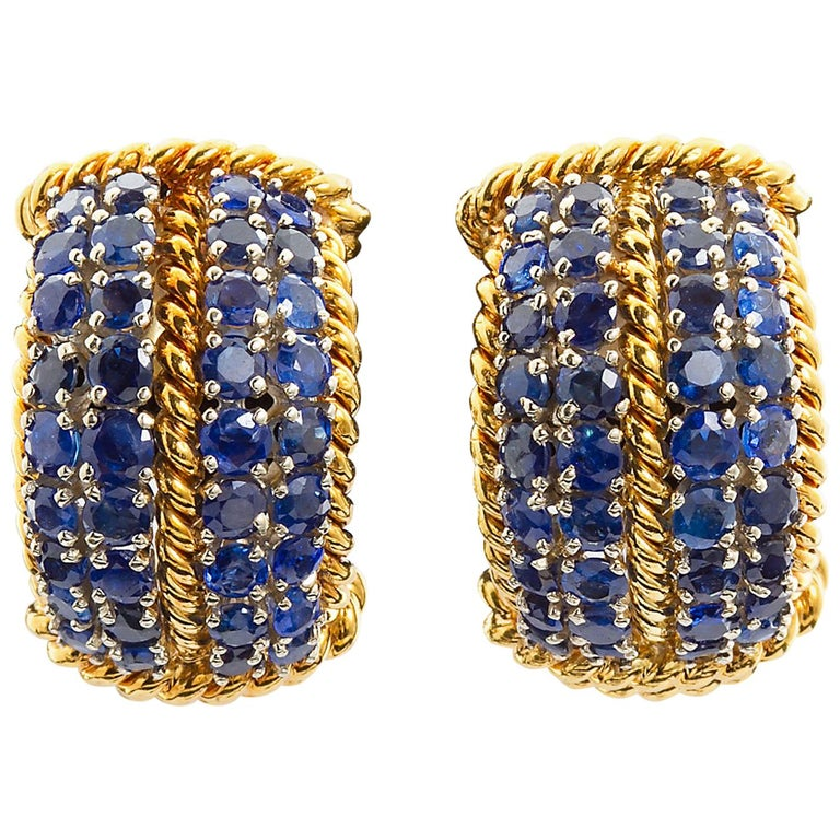 David Webb Sapphire Gold Earclips For Sale