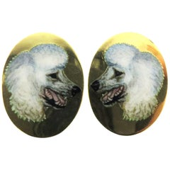 Incredibly Enameled Poodle Dogs English Hallmarked 18 Karat Cufflinks